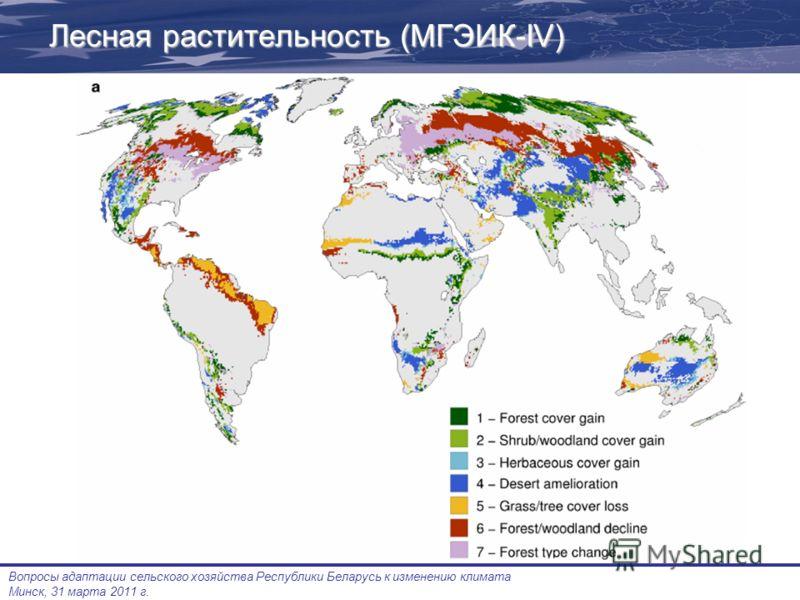 Вопросы адаптации сельского хозяйства Республики Беларусь к изменению климата Минск, 31 марта 2011 г. Лесная растительность (МГЭИК-IV)