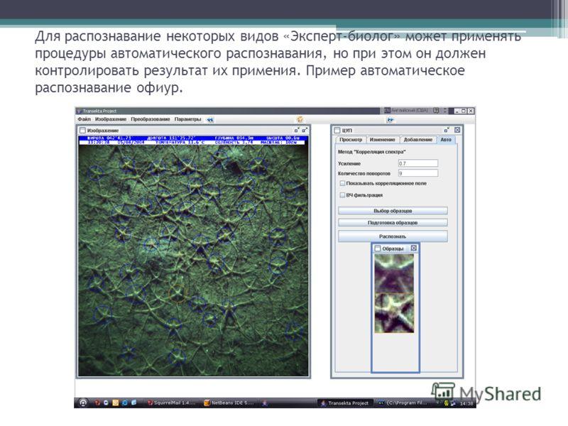 Для распознавание некоторых видов «Эксперт-биолог» может применять процедуры автоматического распознавания, но при этом он должен контролировать результат их примения. Пример автоматическое распознавание офиур.