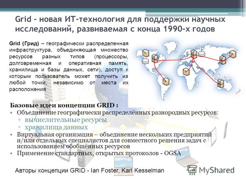 Grid - новая ИТ-технология для поддержки научных исследований, развиваемая с конца 1990-х годов Авторы концепции GRID - Ian Foster, Karl Kesselman Базовые идеи концепции GRID : Объединение географически распределённых разнородных ресурсов: вычислител