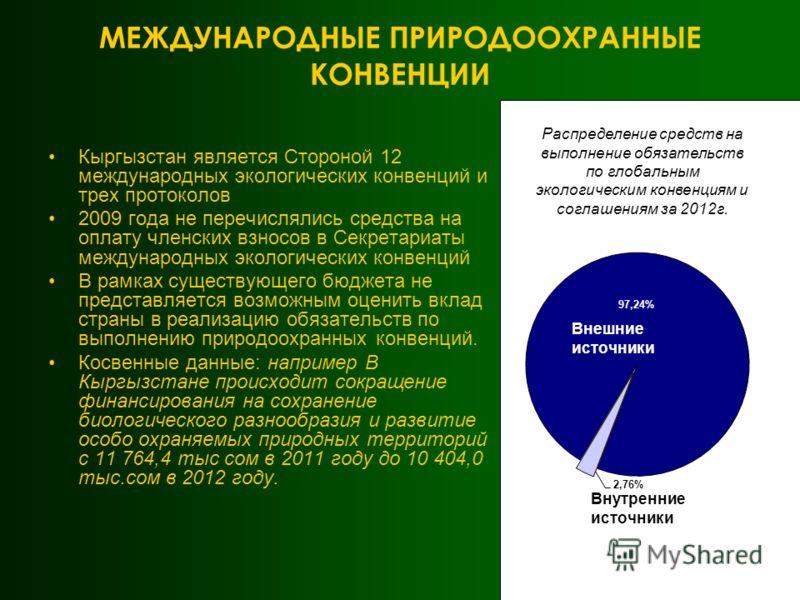МЕЖДУНАРОДНЫЕ ПРИРОДООХРАННЫЕ КОНВЕНЦИИ Кыргызстан является Стороной 12 международных экологических конвенций и трех протоколов 2009 года не перечислялись средства на оплату членских взносов в Секретариаты международных экологических конвенций В рамк