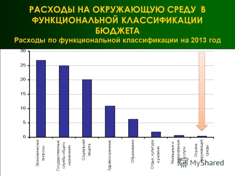 РАСХОДЫ НА ОКРУЖАЮЩУЮ СРЕДУ В ФУНКЦИОНАЛЬНОЙ КЛАССИФИКАЦИИ БЮДЖЕТА Расходы по функциональной классификации на 2013 год