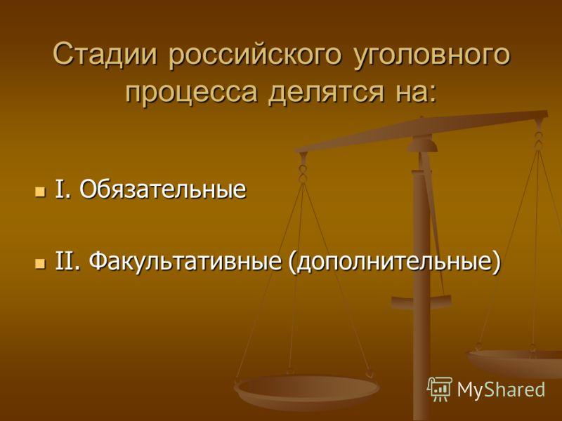 Стадии российского уголовного процесса делятся на: I. Обязательные I. Обязательные II. Факультативные (дополнительные) II. Факультативные (дополнительные)