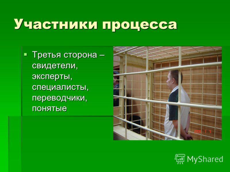 Участники процесса Третья сторона – свидетели, эксперты, специалисты, переводчики, понятые Третья сторона – свидетели, эксперты, специалисты, переводчики, понятые
