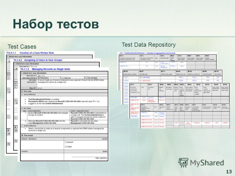 13 Набор тестов Test Cases Test Data Repository