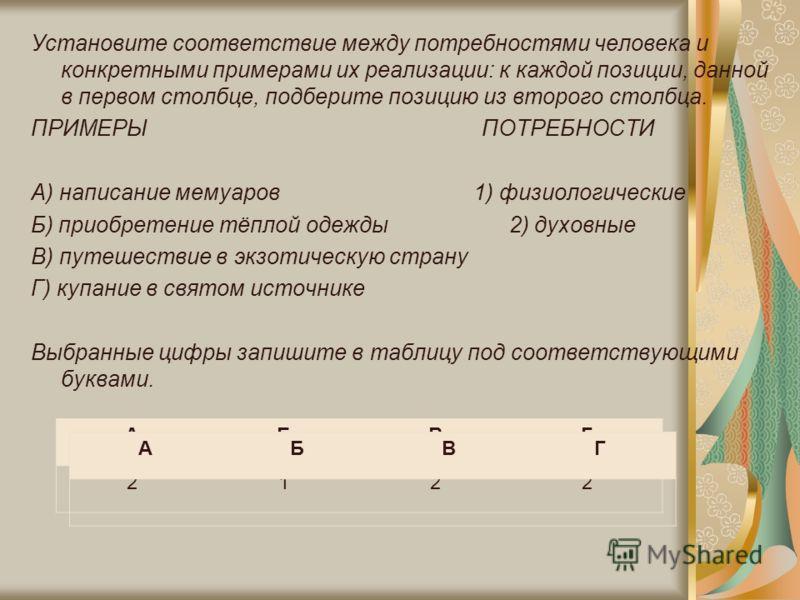 Установите соответствие между потребностями человека и конкретными примерами их реализации: к каждой позиции, данной в первом столбце, подберите позицию из второго столбца. ПРИМЕРЫ ПОТРЕБНОСТИ A) написание мемуаров 1) физиологические Б) приобретение
