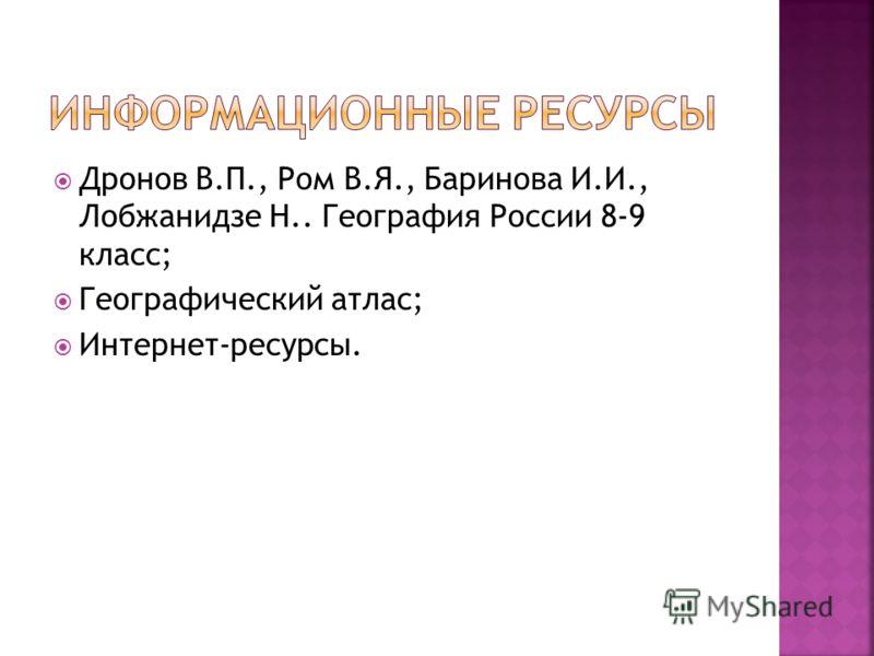 Дронов В.П., Ром В.Я., Баринова И.И., Лобжанидзе Н.. География России 8-9 класс; Географический атлас; Интернет-ресурсы.
