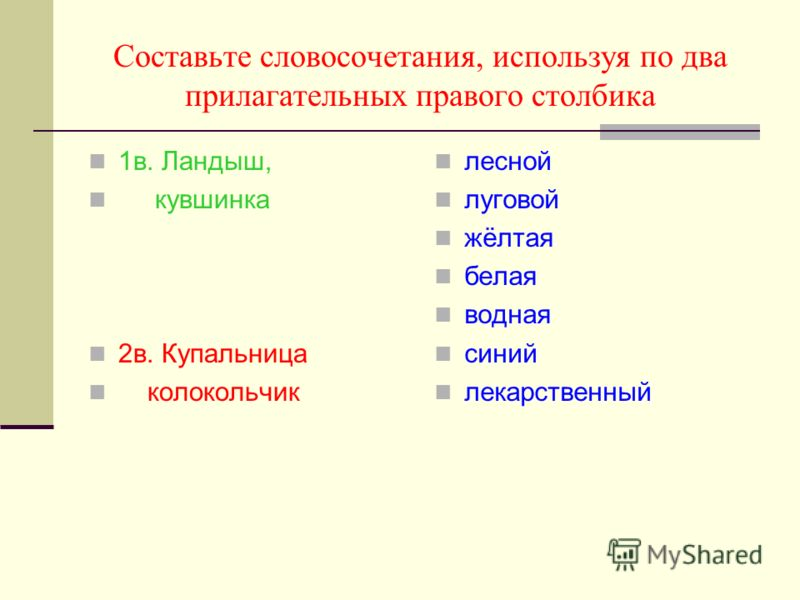 Составьте словосочетания, используя по два прилагательных правого столбика 1в. Ландыш, кувшинка 2в. Купальница колокольчик лесной луговой жёлтая белая водная синий лекарственный