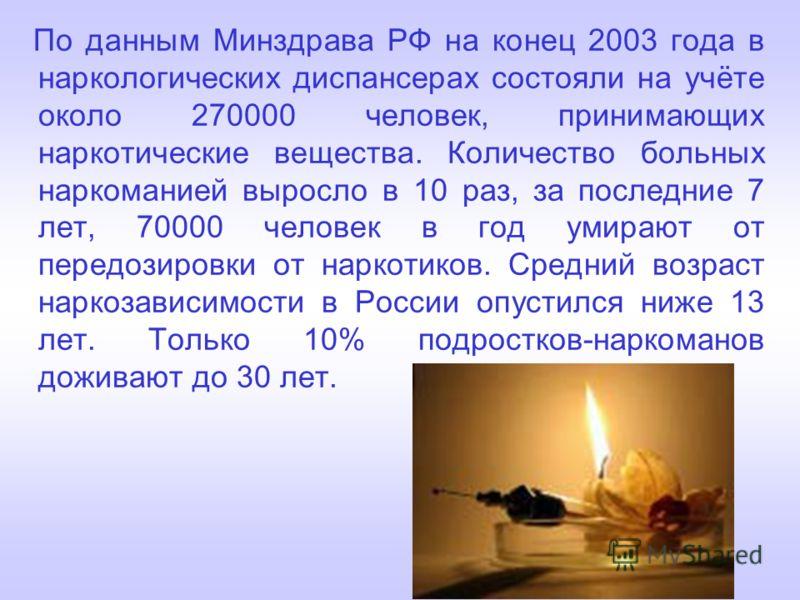 По данным Минздрава РФ на конец 2003 года в наркологических диспансерах состояли на учёте около 270000 человек, принимающих наркотические вещества. Количество больных наркоманией выросло в 10 раз, за последние 7 лет, 70000 человек в год умирают от пе