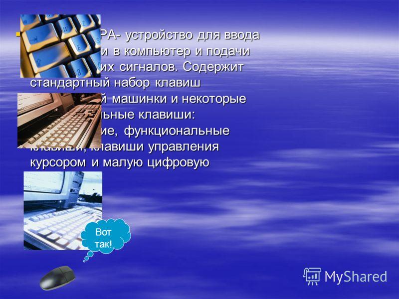 КЛАВИАТУРА- устройство для ввода информации в компьютер и подачи управляющих сигналов. Содержит стандартный набор клавиш печатающей машинки и некоторые дополнительные клавиши: управляющие, функциональные клавиши, клавиши управления курсором и малую ц