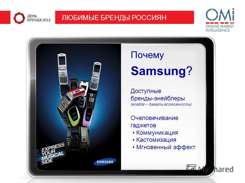 Почему Samsung? ЛЮБИМЫЕ БРЕНДЫ РОССИЯН Доступные бренды-энейблеры (enable – давать возможность) Очеловечивание гаджетов Коммуникация Кастомизация Мгновенный эффект