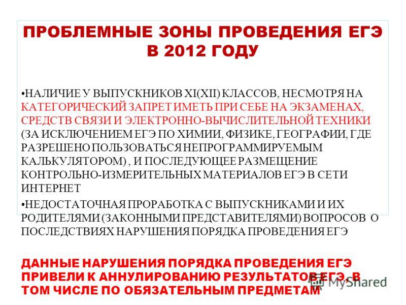 ПРОБЛЕМНЫЕ ЗОНЫ ПРОВЕДЕНИЯ ЕГЭ В 2012 ГОДУ НАЛИЧИЕ У ВЫПУСКНИКОВ XI(XII) КЛАССОВ, НЕСМОТРЯ НА КАТЕГОРИЧЕСКИЙ ЗАПРЕТ ИМЕТЬ ПРИ СЕБЕ НА ЭКЗАМЕНАХ, СРЕДСТВ СВЯЗИ И ЭЛЕКТРОННО-ВЫЧИСЛИТЕЛЬНОЙ ТЕХНИКИ (ЗА ИСКЛЮЧЕНИЕМ ЕГЭ ПО ХИМИИ, ФИЗИКЕ, ГЕОГРАФИИ, ГДЕ РА