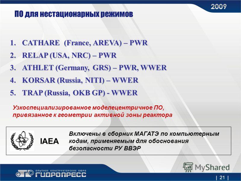 | 21 | ПО для нестационарных режимов 1.CATHARE (France, AREVA) – PWR 2.RELAP (USA, NRC) – PWR 3.ATHLET (Germany, GRS) – PWR, WWER 4.KORSAR (Russia, NITI) – WWER 5.TRAP (Russia, OKB GP) - WWER IAEA Узкоспециализированное моделецентричное ПО, привязанн