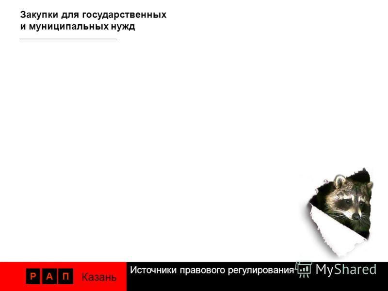Источники правового регулирования РАП Казань Закупки для государственных и муниципальных нужд