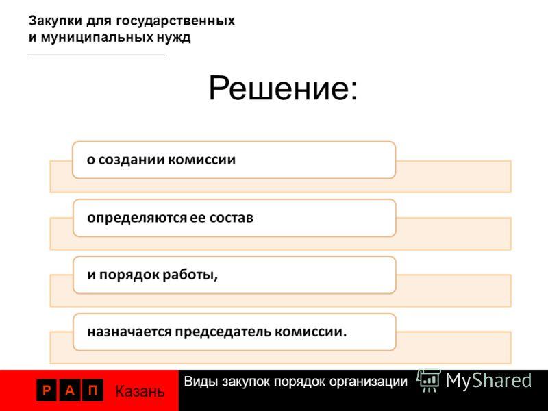 Виды закупок порядок организации РАП Казань Закупки для государственных и муниципальных нужд Решение: