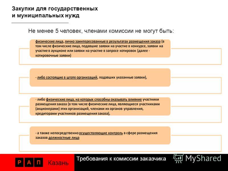 Требования к комиссии заказчика РАП Казань Закупки для государственных и муниципальных нужд Не менее 5 человек, членами комиссии не могут быть: