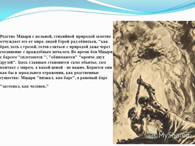 Родство Мцыри с вольной, стихийной природой заметно отчуждает его от мира людей Герой рад обняться,
