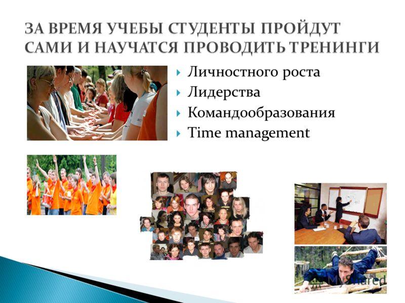 Личностного роста Лидерства Командообразования Time management