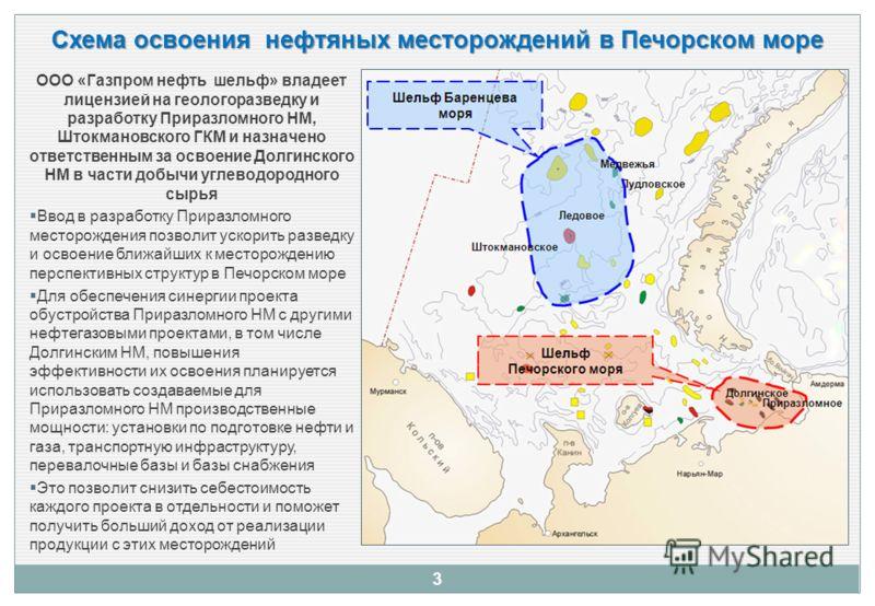 3 Схема освоения нефтяных месторождений в Печорском море ООО «Газпром нефть шельф» владеет лицензией на геологоразведку и разработку Приразломного НМ, Штокмановского ГКМ и назначено ответственным за освоение Долгинского НМ в части добычи углеводородн