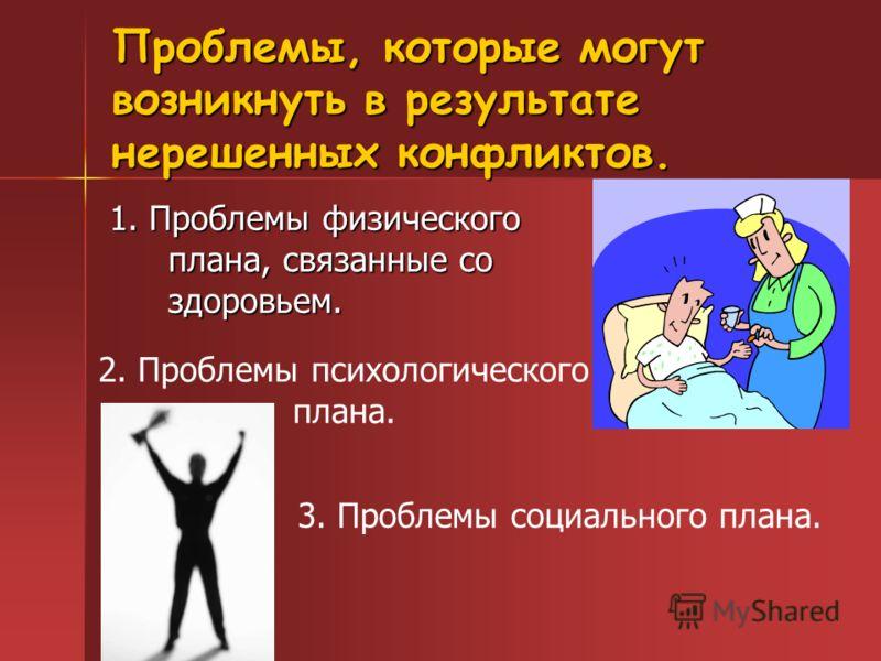 Проблемы, которые могут возникнуть в результате нерешенных конфликтов. 1. Проблемы физического плана, связанные со здоровьем. 2. Проблемы психологического плана. 3. Проблемы социального плана.
