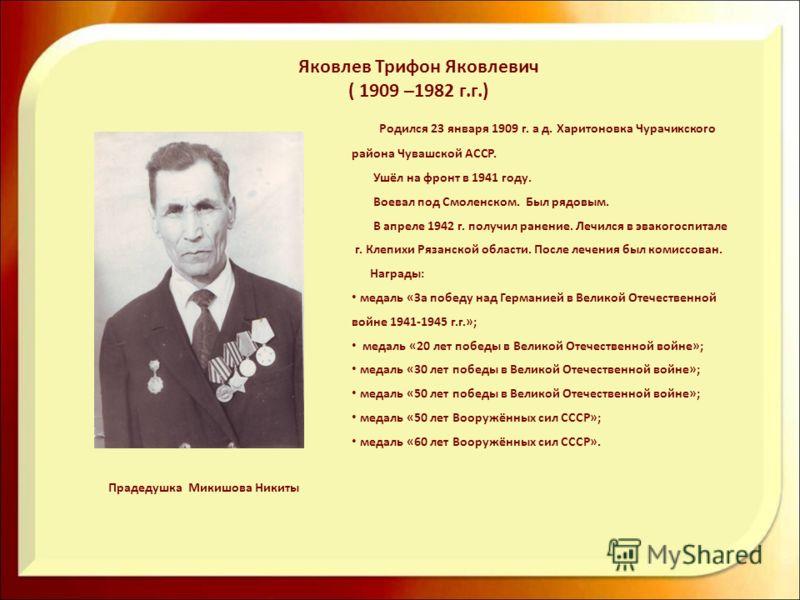 Родился 23 января 1909 г. а д. Харитоновка Чурачикского района Чувашской АССР. Ушёл на фронт в 1941 году. Воевал под Смоленском. Был рядовым. В апреле 1942 г. получил ранение. Лечился в эвакогоспитале г. Клепихи Рязанской области. После лечения был к