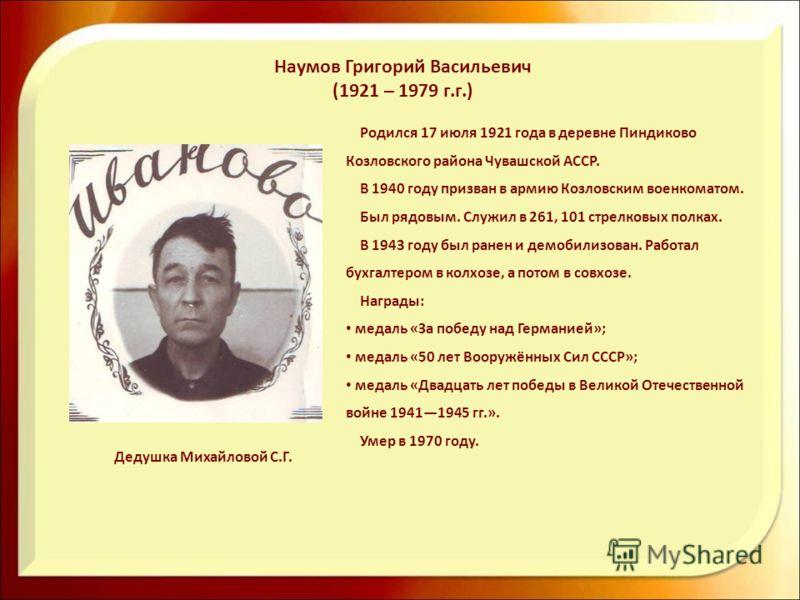 Наумов Григорий Васильевич (1921 – 1979 г.г.) Родился 17 июля 1921 года в деревне Пиндиково Козловского района Чувашской АССР. В 1940 году призван в армию Козловским военкоматом. Был рядовым. Служил в 261, 101 стрелковых полках. В 1943 году был ранен