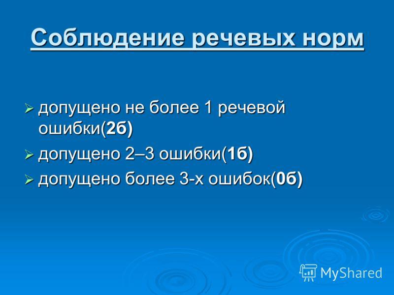 Соблюдение речевых норм допущено не более 1 речевой ошибки(2б) допущено не более 1 речевой ошибки(2б) допущено 2–3 ошибки(1б) допущено 2–3 ошибки(1б) допущено более 3-х ошибок(0б) допущено более 3-х ошибок(0б)