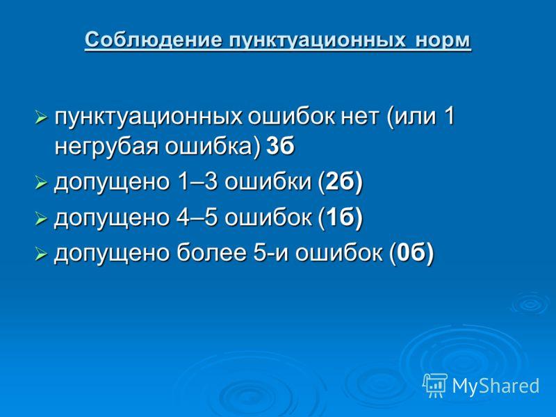Соблюдение пунктуационных норм пунктуационных ошибок нет (или 1 негрубая ошибка) 3б пунктуационных ошибок нет (или 1 негрубая ошибка) 3б допущено 1–3 ошибки (2б) допущено 1–3 ошибки (2б) допущено 4–5 ошибок (1б) допущено 4–5 ошибок (1б) допущено боле