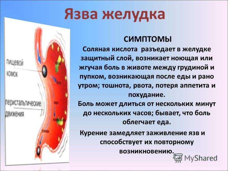 Язва желудка СИМПТОМЫ Соляная кислота разъедает в желудке защитный слой, возникает ноющая или жгучая боль в животе между грудиной и пупком, возникающая после еды и рано утром; тошнота, рвота, потеря аппетита и похудание. Боль может длиться от несколь