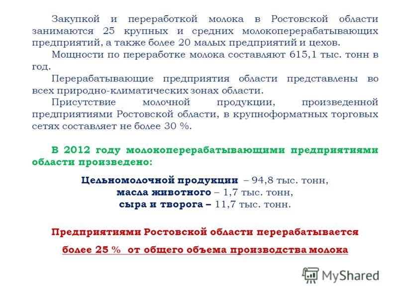 Закупкой и переработкой молока в Ростовской области занимаются 25 крупных и средних молокоперерабатывающих предприятий, а также более 20 малых предприятий и цехов. Мощности по переработке молока составляют 615,1 тыс. тонн в год. Перерабатывающие пред