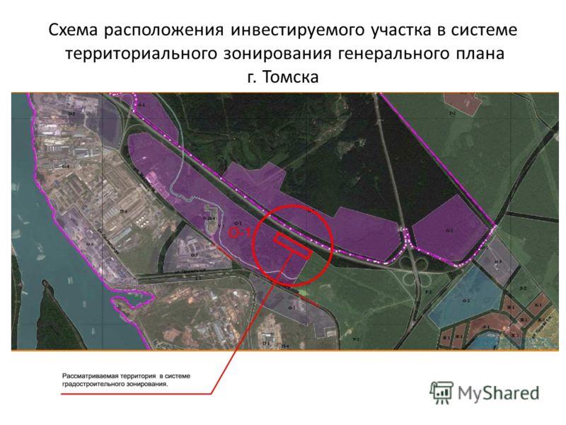 Схема расположения инвестируемого участка в системе территориального зонирования генерального плана г. Томска