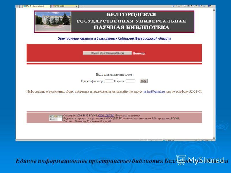 Единое информационное пространство библиотек Белгородской области