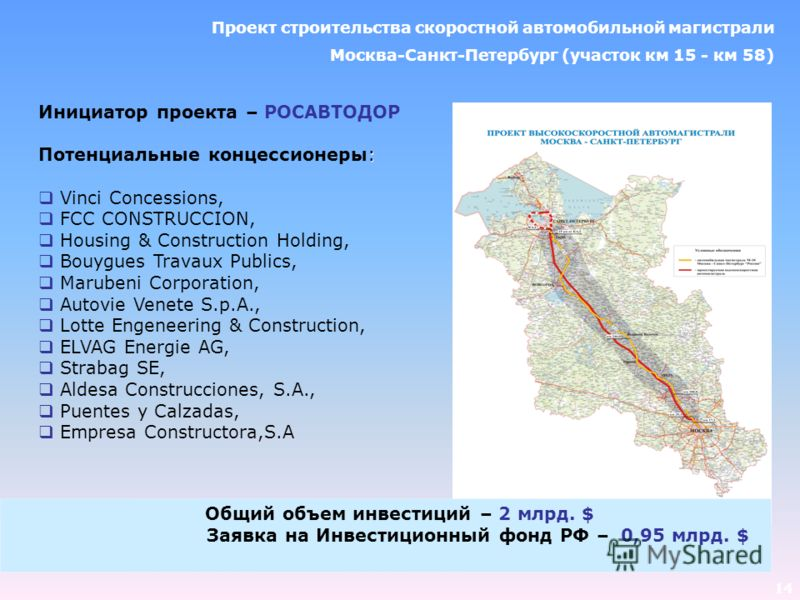 14 Инициатор проекта – РОСАВТОДОР : Потенциальные концессионеры: Vinci Concessions, FCC CONSTRUCCION, Housing & Construction Holding, Bouygues Travaux Publics, Marubeni Corporation, Autovie Venete S.p.A., Lotte Engeneering & Construction, ELVAG Energ