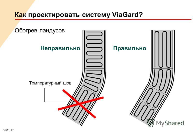 VIAE 10.2 Как проектировать систему ViaGard? Обогрев пандусов НеправильноПравильно Температурный шов