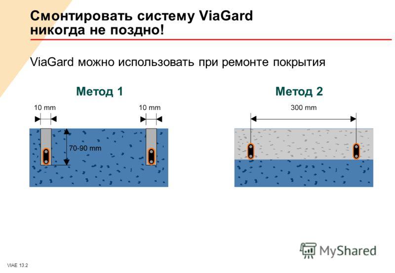 VIAE 13.2 Смонтировать систему ViaGard никогда не поздно! ViaGard можно использовать при ремонте покрытия Метод 1Метод 2