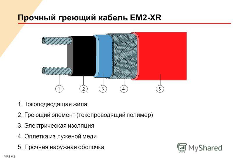 VIAE 6.2 1.Токоподводящая жила 2.Греющий элемент (токопроводящий полимер) 3.Электрическая изоляция 4.Оплетка из луженой меди 5.Прочная наружная оболочка Прочный греющий кабель EM2-XR