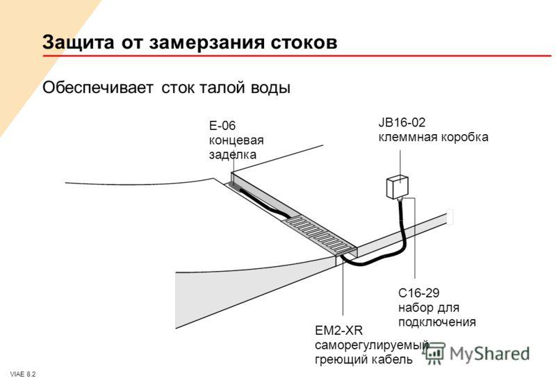 VIAE 8.2 Защита от замерзания стоков Обеспечивает сток талой воды E-06 концевая заделка JB16-02 клеммная коробка EM2-XR саморегулируемый греющий кабель C16-29 набор для подключения
