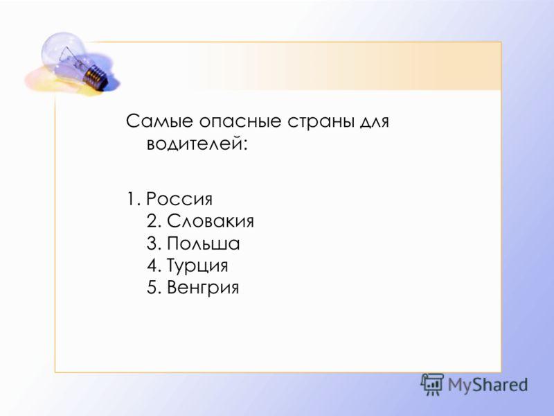 Самые опасные страны для водителей: 1. Россия 2. Словакия 3. Польша 4. Турция 5. Венгрия