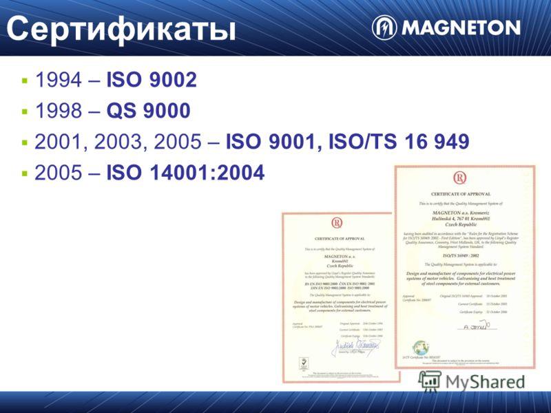 Сертификаты 1994 – ISO 9002 1998 – QS 9000 2001, 2003, 2005 – ISO 9001, ISO/TS 16 949 2005 – ISO 14001:2004