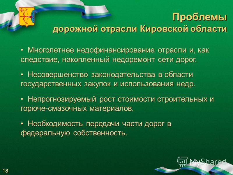 Проблемы дорожной отрасли Кировской области Многолетнее недофинансирование отрасли и, как следствие, накопленный недоремонт сети дорог. Многолетнее недофинансирование отрасли и, как следствие, накопленный недоремонт сети дорог. Несовершенство законод