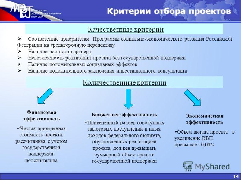 14 Критерии отбора проектов Качественные критерии Соответствие приоритетам Программы социально-экономического развития Российской Федерации на среднесрочную перспективу Наличие частного партнера Невозможность реализации проекта без государственной по