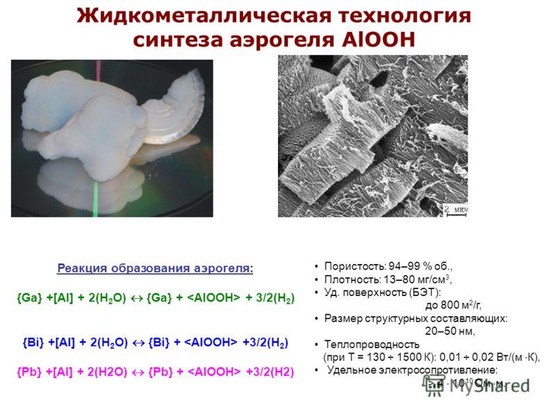 Жидкометаллическая технология синтеза аэрогеля AlOOH Реакция образования аэрогеля: {Ga} +[Al] + 2(H 2 O) {Ga} + + 3/2(H 2 ) {Bi} +[Al] + 2(H 2 O) {Bi} + +3/2(H 2 ) {Pb} +[Al] + 2(H2O) {Pb} + +3/2(H2) Пористость: 94–99 % об., Плотность: 13–80 мг/см 3,