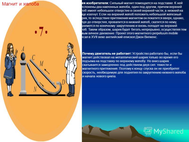 Магнит и желоба Идея изобретателя: Сильный магнит помещается на подставке. К ней прислонены два наклонных желоба, один под другим, причем верхний желоб имеет небольшое отверстие в своей верхней части, а нижний на конце изогнут. Если на верхний желоб