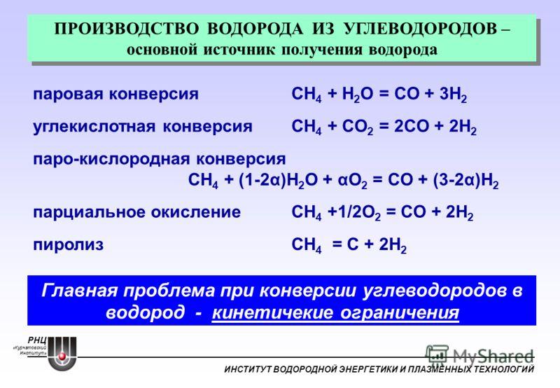 РНЦ «Курчатовский Институт» ИНСТИТУТ ВОДОРОДНОЙ ЭНЕРГЕТИКИ И ПЛАЗМЕННЫХ ТЕХНОЛОГИЙ Главная проблема при конверсии углеводородов в водород - кинетичекие ограничения ПРОИЗВОДСТВО ВОДОРОДА ИЗ УГЛЕВОДОРОДОВ – основной источник получения водорода углекисл