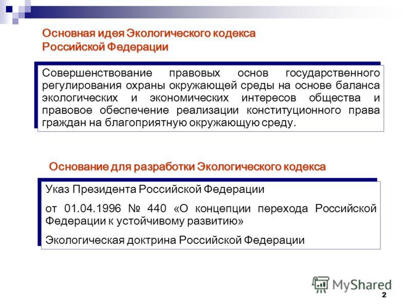 2 Основная идея Экологического кодекса Российской Федерации Совершенствование правовых основ государственного регулирования охраны окружающей среды на основе баланса экологических и экономических интересов общества и правовое обеспечение реализации к