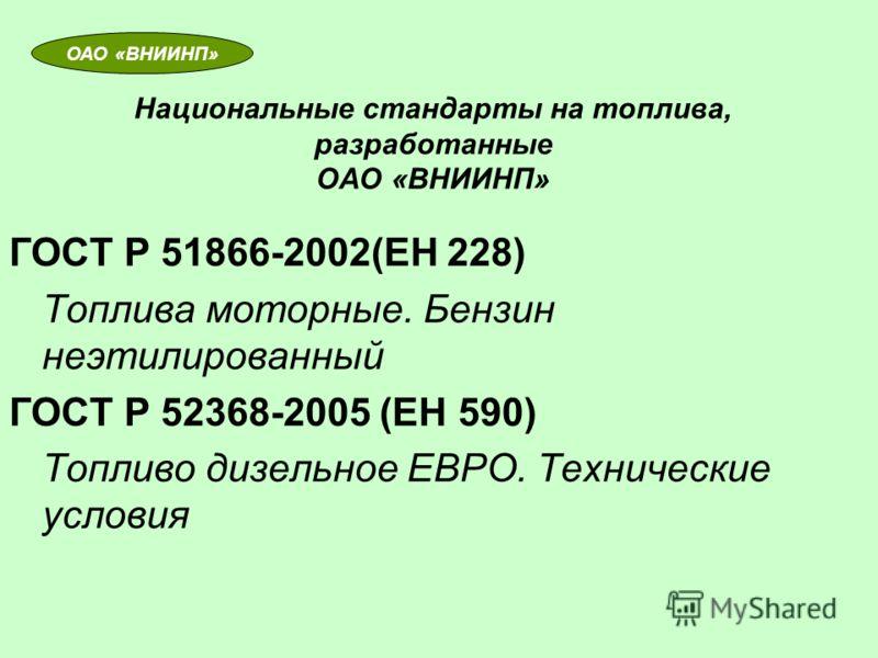 Национальные стандарты на топлива, разработанные ОАО «ВНИИНП» ГОСТ Р 51866-2002(ЕН 228) Топлива моторные. Бензин неэтилированный ГОСТ Р 52368-2005 (ЕН 590) Топливо дизельное ЕВРО. Технические условия ОАО «ВНИИНП»