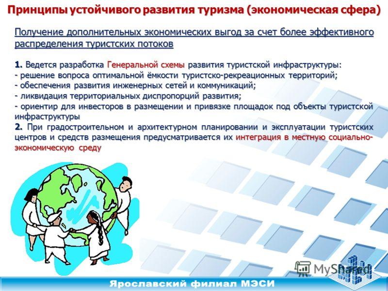 Принципы устойчивого развития туризма (экономическая сфера) 1. Ведется разработка Генеральной схемы развития туристской инфраструктуры: - решение вопроса оптимальной ёмкости туристско-рекреационных территорий; - обеспечения развития инженерных сетей