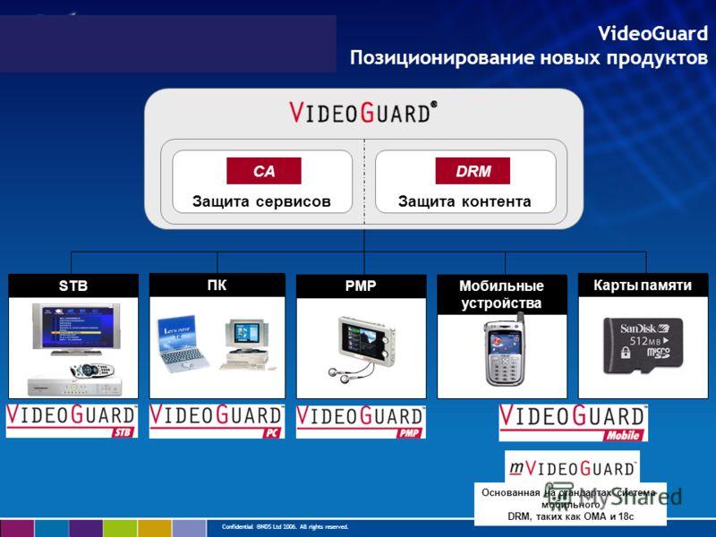 Confidential ©NDS Ltd 2006. All rights reserved. Защита сервисовЗащита контента CADRM ПК Мобильные устройства PMP STB Карты памяти Основанная на стандартах система мобильного DRM, таких как OMA и 18c VideoGuard Позиционирование новых продуктов