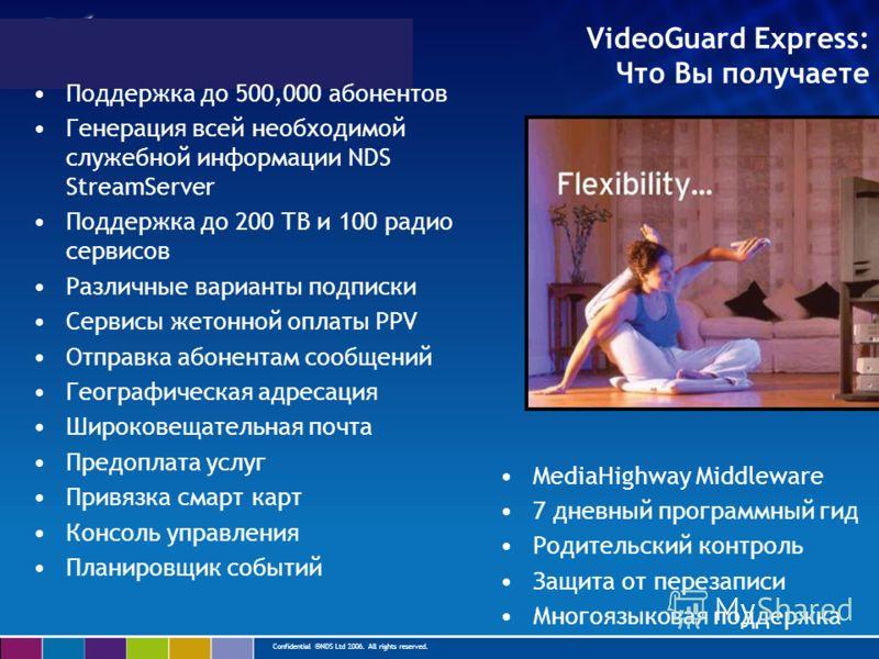 Confidential ©NDS Ltd 2006. All rights reserved. VideoGuard Express: Что Вы получаете Поддержка до 500,000 абонентов Генерация всей необходимой служебной информации NDS StreamServer Поддержка до 200 ТВ и 100 радио сервисов Различные варианты подписки