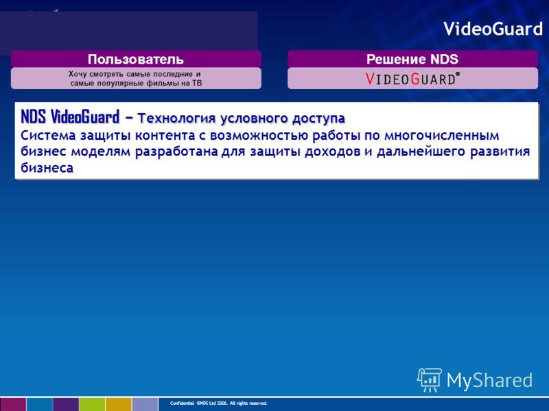 Confidential ©NDS Ltd 2006. All rights reserved. VideoGuard NDS VideoGuard – Технология условного доступа Система защиты контента с возможностью работы по многочисленным бизнес моделям разработана для защиты доходов и дальнейшего развития бизнеса NDS