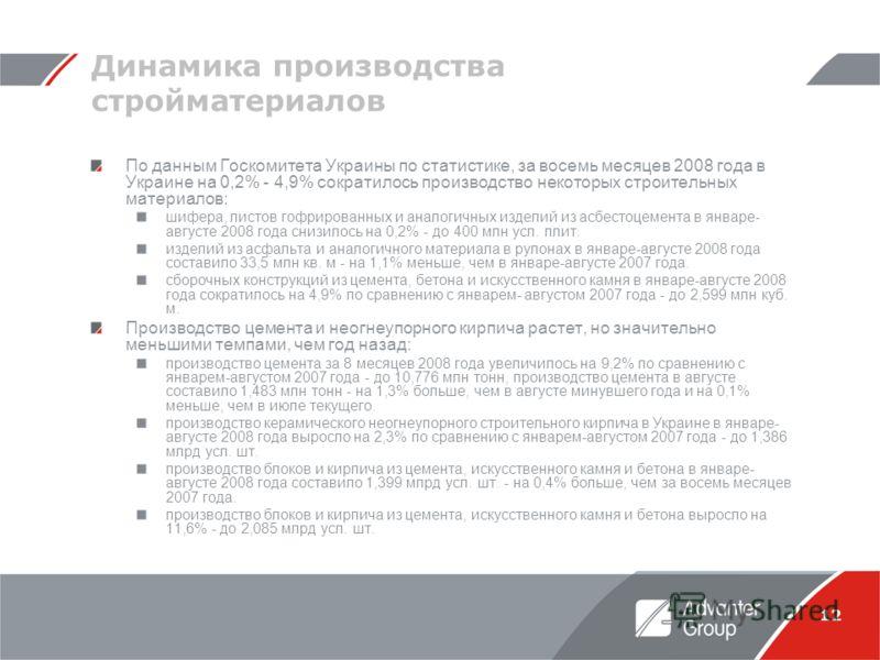12 Динамика производства стройматериалов По данным Госкомитета Украины по статистике, за восемь месяцев 2008 года в Украине на 0,2% - 4,9% сократилось производство некоторых строительных материалов: шифера, листов гофрированных и аналогичных изделий